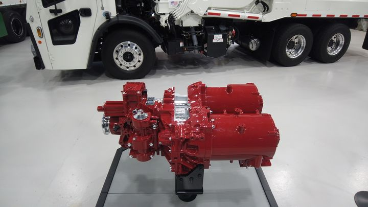 The entire drive assembly, two electric motors and a two-speed Powershift transmission, take up less space in the chassis than a typical transmission. - Photo: Jim Park