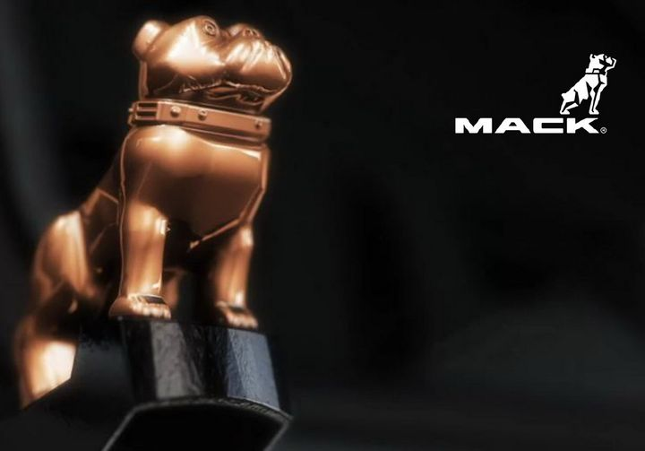 Rather than the gold bulldog signifying an integrated Mack powertrain, the bulldog on the electric Mack trucks will be copper. - Photo: Mack Trucks