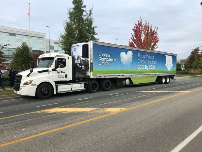 Loblaw is a member of Freightliner's electric vehicle council, and brought an eCascadia to Canada for an initial test run in Surrey, B.C. -