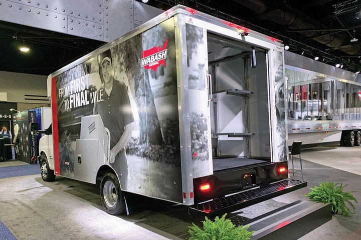 Wabash emphasized the growth of last-mile delivery in its display at the North American Commercial Vehicle Show last October. - Photo: Deborah Lockridge