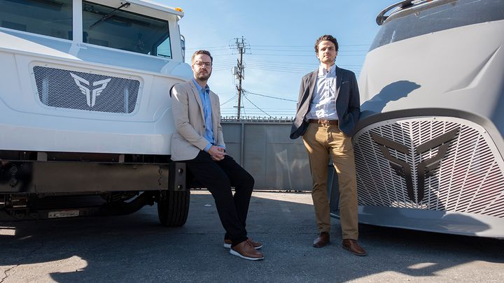 XOS CEO and Co-Founder Dakota Semler (left) and COO and Co-Founder Gio Sordoni. - Photo: Vince Taroc