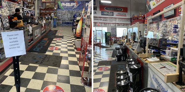 Distancing circles have been put on the floor at all Action Truck Parts locations (left) to...