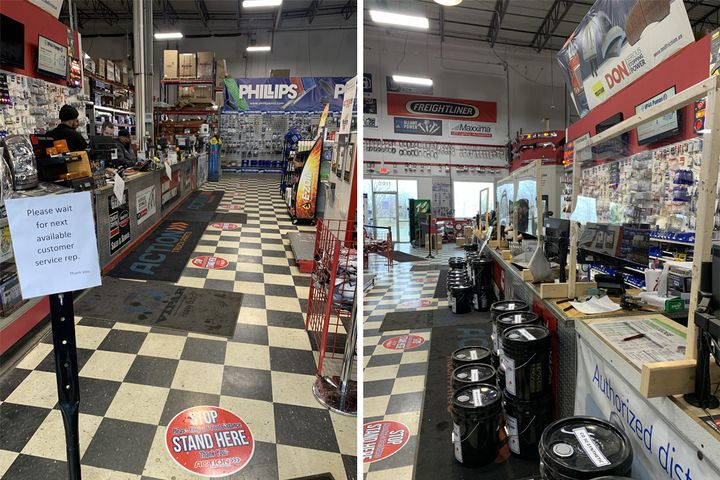 Distancing circles have been put on the floor at all Action Truck Parts locations (left) to allow social distancing between customers as they wait in line. The company is also setting up barriers or using protective windows (right) at its locations to protect its parts counterpeople. - Photo: Action Truck Parts
