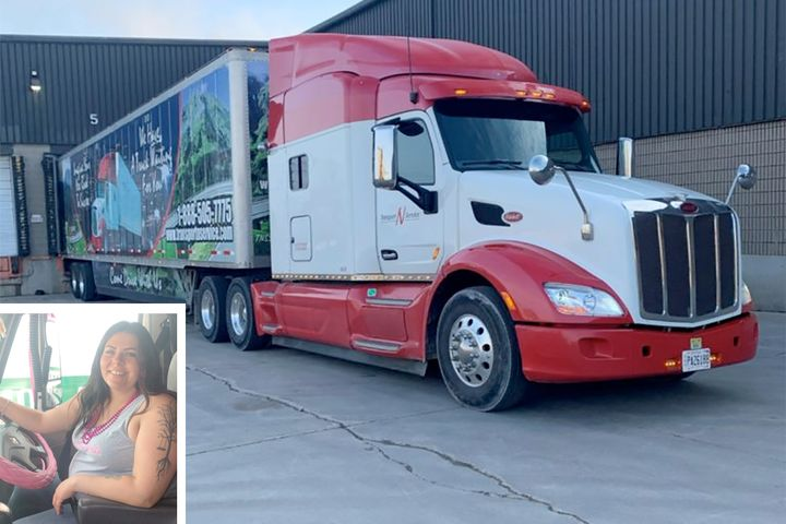 Nicole Folz and the Transport N Service truck that brought her back to Canada and the treatment she needed. - Photos: Today's Trucking
