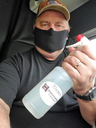 Drivers have been provided with masks from a T-shirt manufacturer, and each truck is equipped with cleaning supplies. - Photo: Higgins Trucking