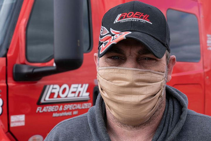 Roehl Transport is making sure drivers like John Hockman are safe on the road by providing face masks and sanitizing supplies. - Photo: Roehl Transport