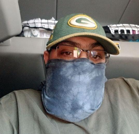 Roadmaster driver Joe Yuenger has a mask made from an old T-shirt. - Photo: Joe Yuenger/Roadmaster Group