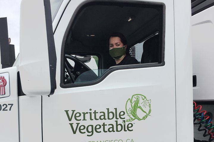 Veritable Vegetable provided drivers with locally sourced, organic, reusable face masks to protect them on the road and at the loading docks.