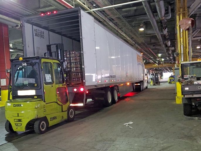 Werner's dedicated fleets deliver three trailers full of Powerade to service members, first responders and volunteers of the USO in New York City, who are helping fight COVID-19.