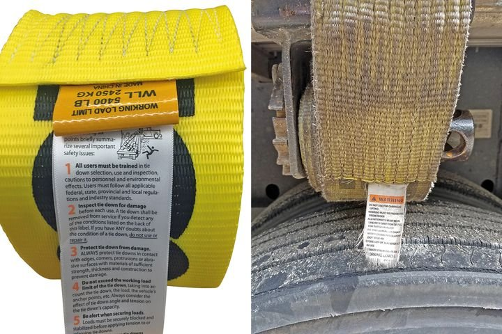 (Left): All tie-down assemblies (including chains, wire rope, steel strapping, synthetic webbing and cordage) and other attachments or fastening devices used to secure articles of cargo must have their WLL, or working load limit, clearly marked.(Right): Because its WLL is no longer legible, this strap should be considered out of service and should be discarded. - Photo: Doleco USA