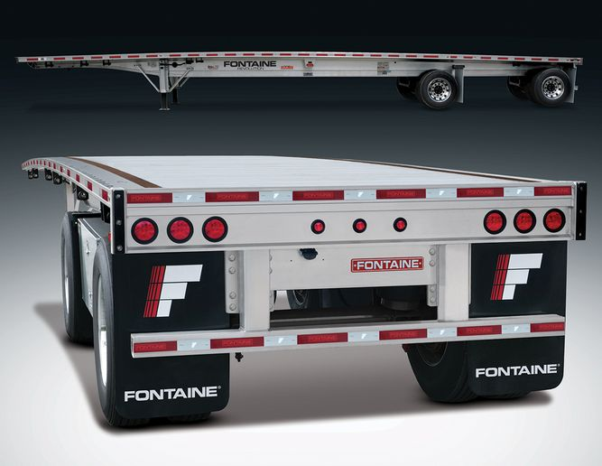Fontaine's new bolt-on bumper is now standard on all Revolution all-aluminum trailers. It bolts in place in minutes and meets current FMVSS/CMVSS standards. The Revolution also features the patented Routed Aluminum Side Rail, which withstands impacts better than previous designs. - Photo: Fontaine