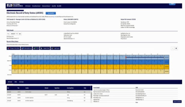 ERODS software makes it easier for compliance investigators to flag possible violations in ELD logs.  - Screenshot of Trimble In.Sight. Courtesy Scopelitis Transportation Consulting