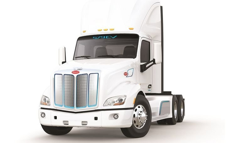 The Peterbilt Model 579EV is a battery-electric Class 8 truck now available for order. - Photo: Peterbilt