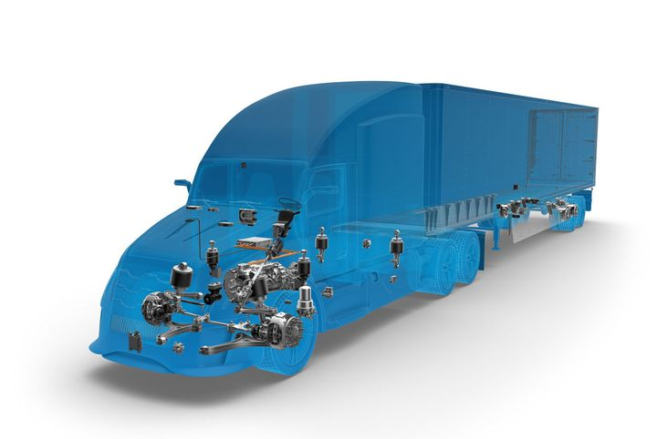 On the tractor side, the ZF-Wabco acquisition brought together a lot of complementary expertise. For instance, Wabco's brake and stability control solutions dovetail with ZF's steering systems in ways that will help make autononous trucks possible. - Illustration: ZF