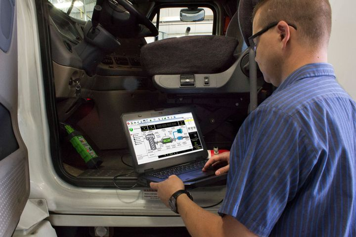 Will trucking go wireless, the way automotive repairs are going, in the way technicians connect to do diagnostics? - Photo: Noregon