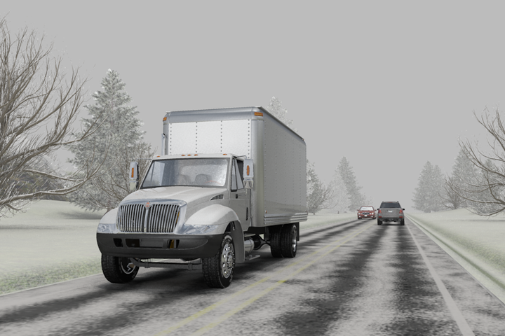 When driving on snowy or icy roads, it can take up to 10 times longer to stop. - Illustration: ITI