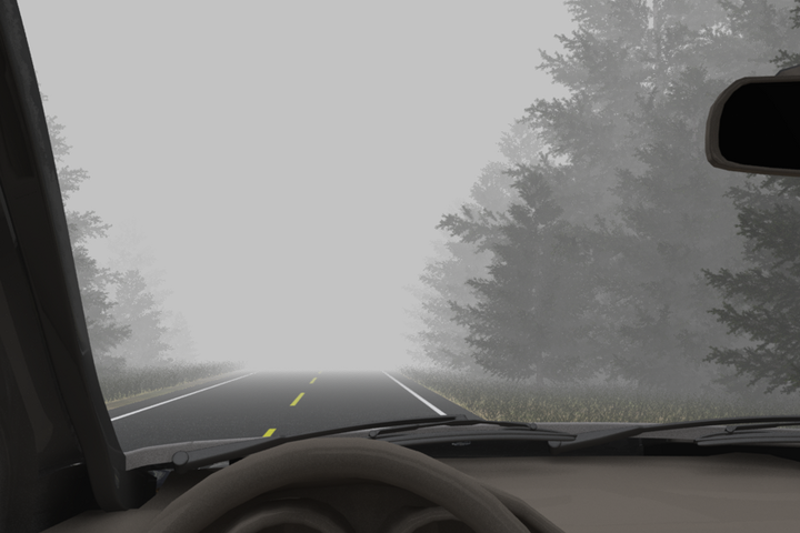 Snow isn't the only winter weather factor that can limit visibility. Fog can be a problem, too. - Illustration: ITI