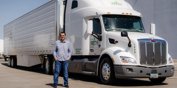 Fresh Freight CEO Matt Heroux, shown, wanted to spec a premium truck for his new fleet to...