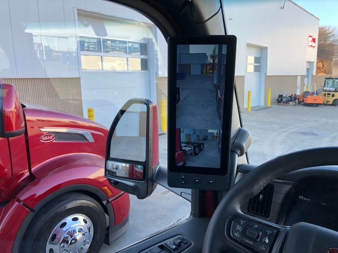The A-pillar-mounted rear-view camera screens on the New Model 579 are solidly mounted and complement the conventional rear-view mirrors nicely. - Photo: Jack Roberts