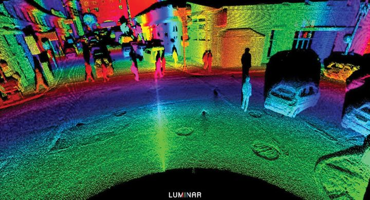 A visual representation of what lidar sees. Lidar can detect large and small, moving or stationary objects. The bands of color represent distance from the device.  - Photo:  Luminar Technologies