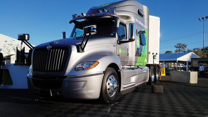 Robotic truck company TuSimple displayed this truck at the CES electronics show in Las Vegas in 2019. Cameras are located above the cab and on the side of the sleeper. The lidar devices are on the hood and the radar device is on the bumper. Together, the array provides a complete view of the area around the tractor with object-detection and tracking capabilities.    - Photo: Jim Park