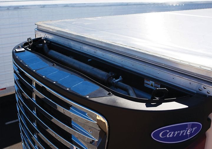 Carrier Transicold'sTRU-Mount Solar Charging System conveniently fits on top of the transport refrigeration unit. - Photo: Carrier Transicold