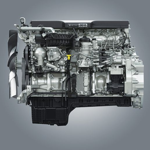 Daimler Trucks North America'sDetroit DD15 Gen 5 engine offers increased downspeeding and improved combustion for better fuel economy. - Photo: DTNA