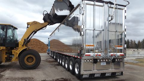 East Manufacturing built this custom Genesis Unloader trailer for C&J Bark Haulers of Hemlock,...
