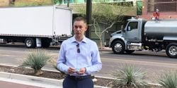 Kenworth General Manager and Paccar Vice President Kevin Baney speaks to journalists at the launch of the OEM's new medium-duty truck line in Phoenix, Arizona on April 1.