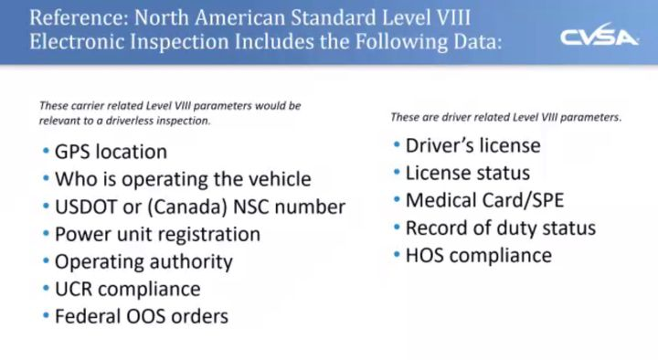 The Level VIII inspection is in limited use today, but when it's applied to driverless trucks, the driver-related data, such as hours of service and medical, would not be required. - Photo: Screen capture of CVSA webinar
