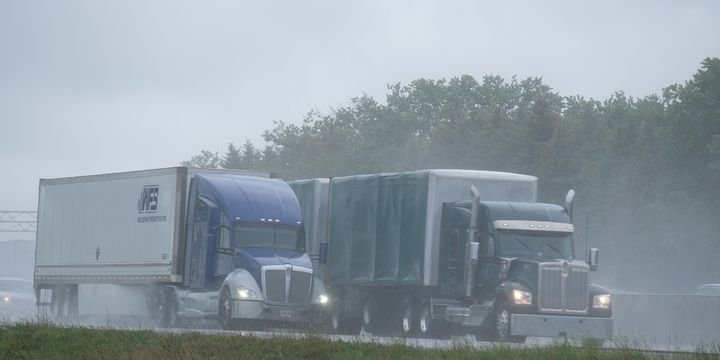 Splash and spray can reduce driver visibility from 1,500 feet on dry road to 300-600 feet in rainy conditions, TMC says. - Photo: Jim Park