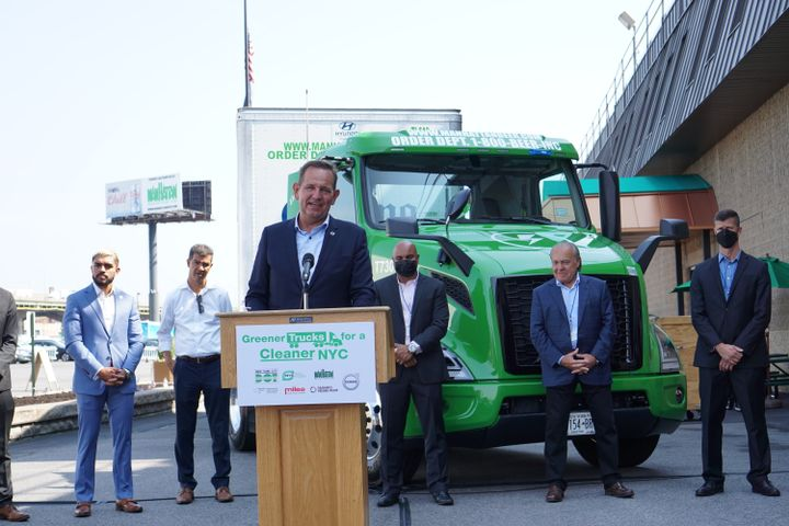 """""""Trucks on the road contribute to a cleaner environment, trucks in the order books will do that in the future,"""" VTNA President Peter Voorhoeve said during a Q&A session with industry journalist following the initial press event (pictured here). - Photo: Vesna Brajkovic"""