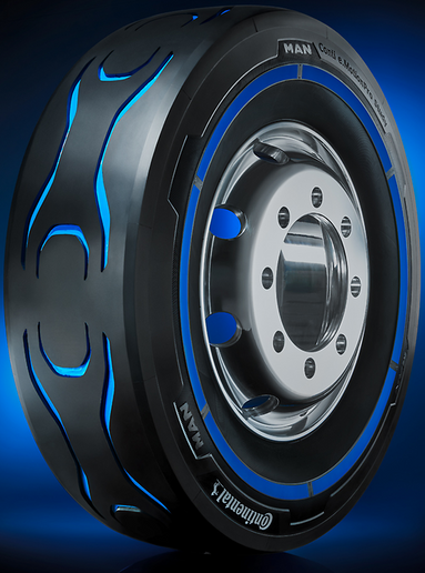 """Continental presented this hand-made prototype tire for electric trucks at the Frankfurt Motor Show in 2018. In line with the """"tall-and-narrow"""" concept, wherever practical, tires with a large diameter can help to keep rolling resistance down. - Photo: Continental"""