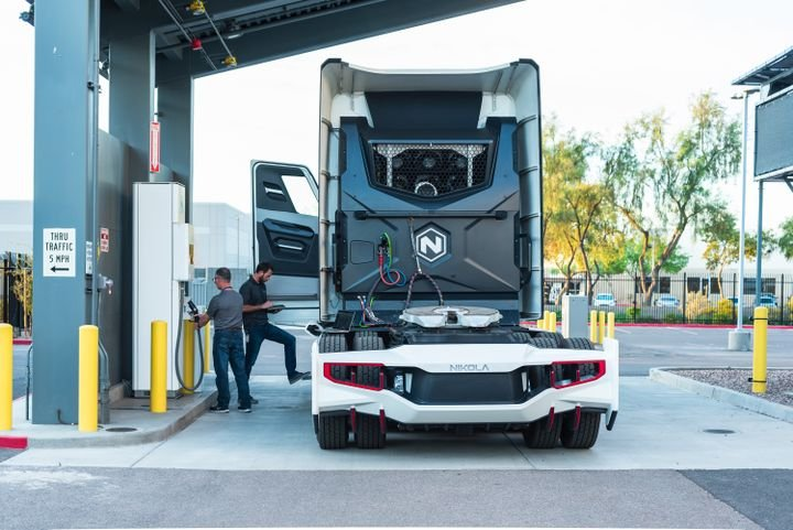 """Fueling availability is a key piece needed for the adoption of fuel-cell electric trucks. Nikola's long-term vision is to use renewable power, such as solar, for onsite production of """"green"""" hydrogen via electrolysis. - Photo: Nikola"""