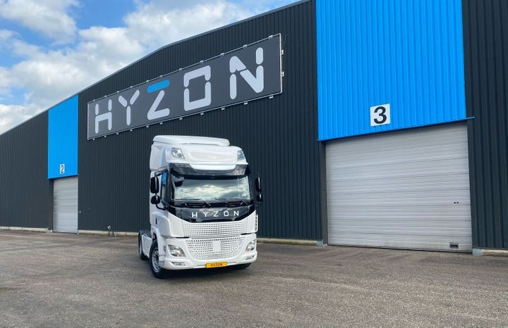 Hyzon Motors is a relatively new company, developed as an offshoot of parent company Hyzon Fuel Cell Technologies. Instead of developing its own cab and chassis, it works with existing truck OEs to integrate its technology into their vehicles. Current Hyzon-branded fuel-cell trucks are Euro-style cabovers, but it's developing a conventional. - Photo: Hyzon Motors