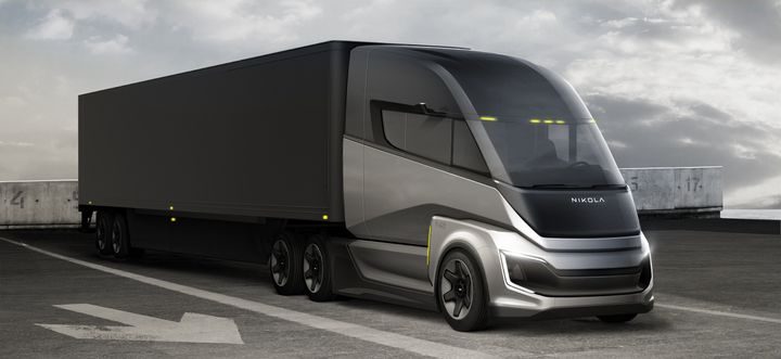 Nikola is developing both battery-electric and fuel-cell electric trucks. First to come to market will be the Tre cabover, for distances up to 500 miles, based on Iveco cabover cab designs from Europe. Following the FCEV version of the Tre, Nikola plans to launch the long-range Nikola Two FCEV Sleeper for ranges of 300-900 miles, possibly as early as late 2024, on a new chassis custom-designed for North American long-haul routes. - Photo: Nikola
