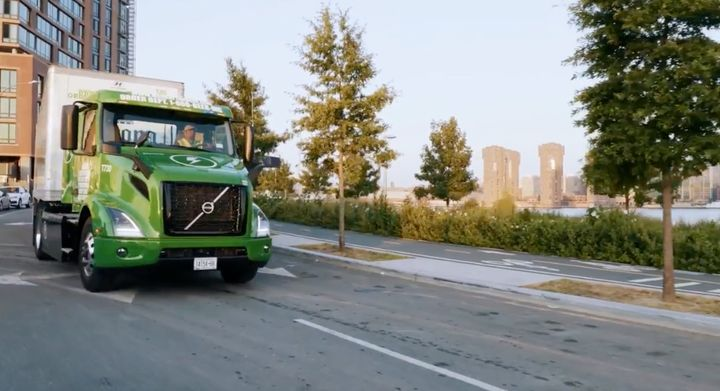 Manhattan Beer Distributors recently took delivery of the first of five Volvo VNR Electric trucks. - Photo: Screen capture, Volvo Leap webcast