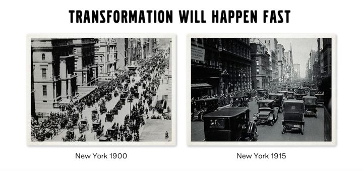 """""""We are approaching a historical shift not seen since we shifted from carriages to trucks."""" - Photo: Screen capture, Volvo Leap webcast"""