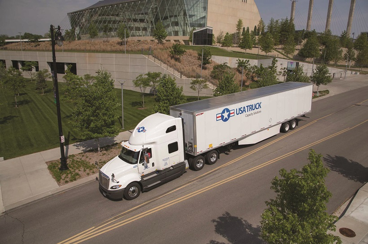 USA Truck is working to make its 1,400-plus trucks more fuel efficient, and takes recycling and conservation seriously.