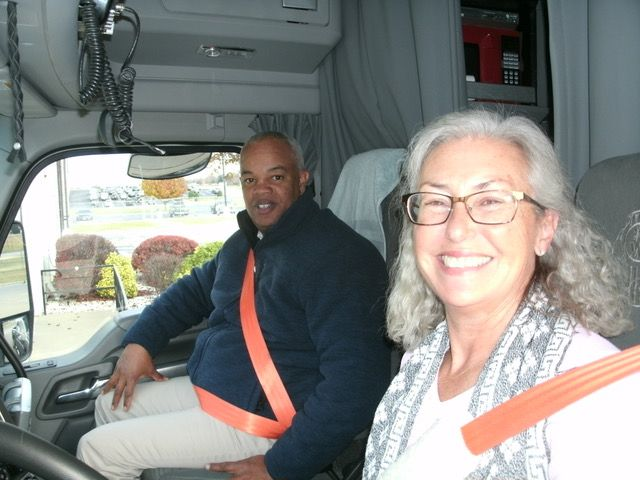 Then-FMCSA Administrator Scott Darling got an education on trucking in a ride-along with Stephanie Klang.  - Photo courtesy Women in Trucking