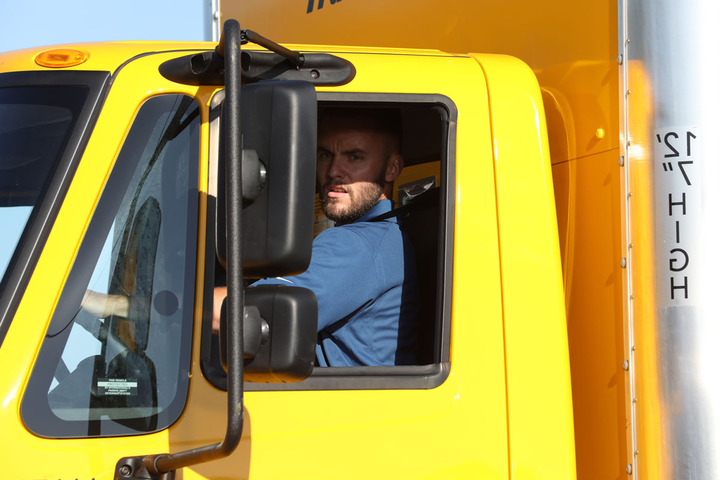 A younger driver participates in IFDA's truck driving competition.