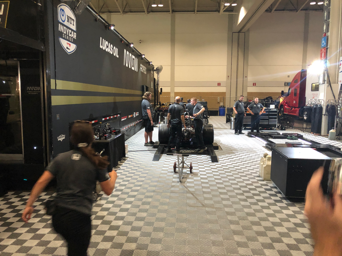Hauler trucks carry a complete mobile work shop, and engineering team, three race cars and all the gear needed to support the 45-member team while at a race event.