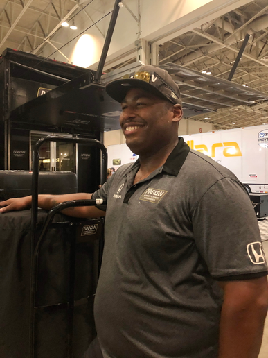 Truck driver Timothy Lane is responsible for far more than hauling equipment. Once on site for a race, he oversees tires and fueling. -