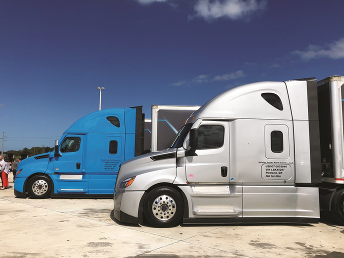 Two new Freightliner Cascadias were offered up to reporters for a test drive in Florida, both equipped with the full Detroit Assurance 5.0 package including Lane Keep Assist and Lane Departure Protection. I drove the blue truck on my second drive in Portland two months later.  -