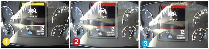 When hands are off the wheel, drivers get a sequence of warnings, starting with yellow, then red, and after 60 seconds, Active Lane Assist turns off, indicated by the blue icon going out.