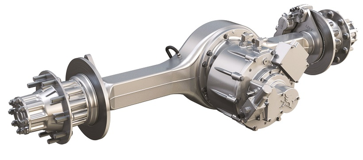 Using a traditional axle housing with a motor mounted where carrier and driveshaft input would normally go is an easy and economical first step toward electrically powered drive axles. 