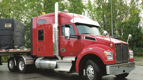 Kenworth's T880 set-forward-axle version is usually seen with a dump or ready-mix body, but this...