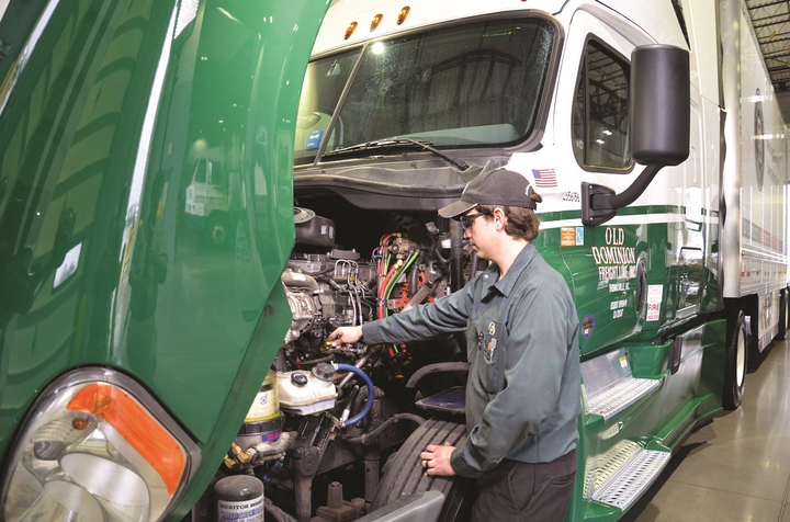 "At Old Dominion Freight Lines (left), conducting preventive maintenance properly is considered a key way ""to address anything that can impact fuel economy as quickly as possible,"" says Chris Harrell.