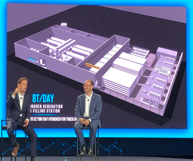 André Løkke, CEO of Nel (left) and Jesse Schneider explain the function of the generation station during a break-out session at Nikola World 2019 in Phoenix. Behind them is an rtist's rendering of what Nikola calls its standard 8-ton per day hydrogen generation and filling station.