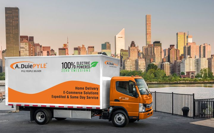 A. Duie Pyle is leasing two battery-electric Fuso eCanters for use in its last-mile delivery fleet.